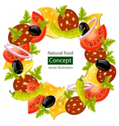 Food wreath vector