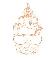 Ganapati meditation in lotus pose vector