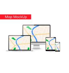 gps city map on computer laptop tablet vector image vector image