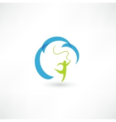 Gymnast with ribbon vector