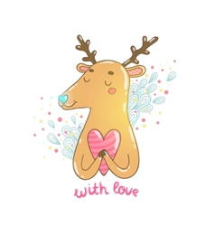 Happy Valentines day cartoon hand drawn deer vector image