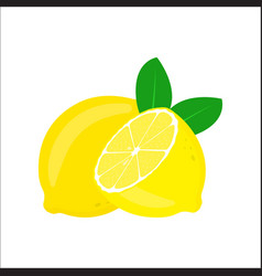 lemon with leaves isolated on white background vector image
