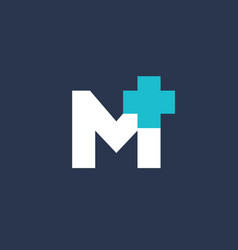 letter m cross plus medical logo icon design vector image vector image