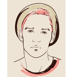 man face hand drawn vector image