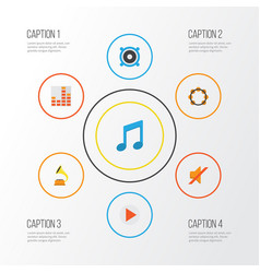 Multimedia flat icons set collection of quiet vector