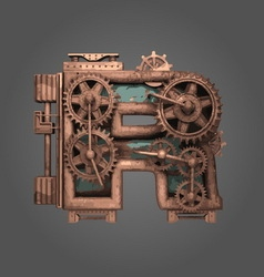 R rusted letter with gears vector