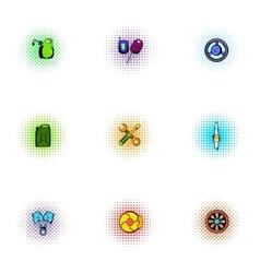 Repair machine icons set pop-art style vector