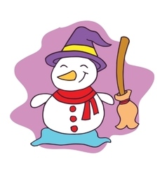 Snowman with broom character christmas vector