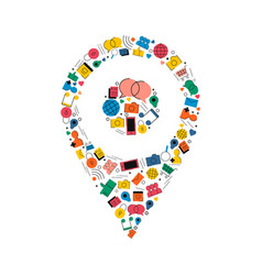 Social media gps location pin concept icon design vector