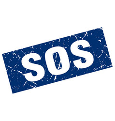 square grunge blue sos stamp vector image