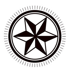 Star inside seal stamp design vector