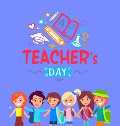 teachers day blue placard vector image