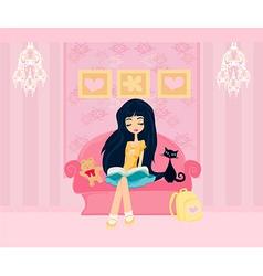 Teen girl Reading A Book vector image vector image