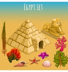 Underwater egypt world and pyramid vector