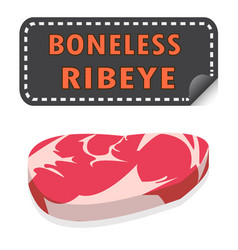 unwrapped fresh boneless ribeye steak with fat vector image vector image