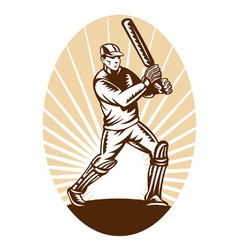vintage cricket background vector image vector image