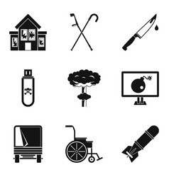 War tension icons set simple style vector
