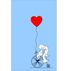 Wedding couple on a bicycle drawing vector