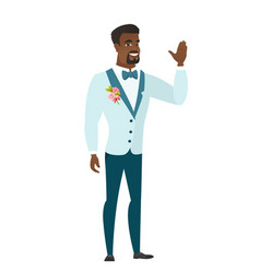 young african-american groom waving his hand vector image vector image