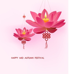 Chinese mid autumn festival background lotus vector