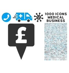 Pound map pointer icon with 1000 medical business vector