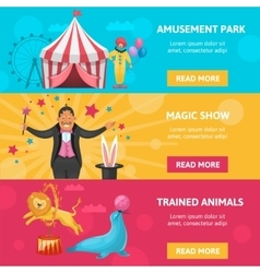 Circus Entertainment Banners Set vector image