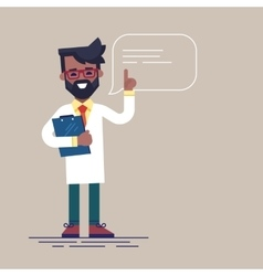 Black male doctor with beard giving advice vector