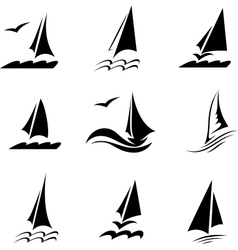 Icons with the image of yachts on a white vector