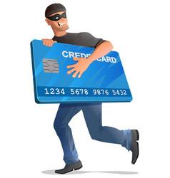 Man robber runs with credit card vector