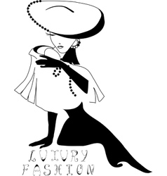 Woman vintage silhouette vector