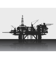 Sea oil rig Oil platform in the deep sea Detailed vector image