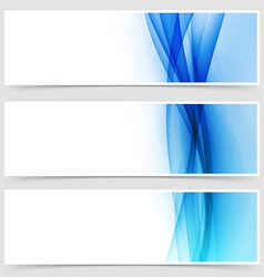 Blue fluid line abstract modern header set vector
