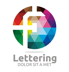 Logo abstract lettering f rainbow alphabet icon vector