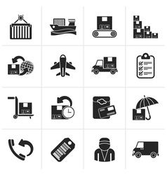 Black Cargo shipping and delivery icons vector image