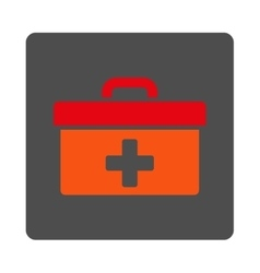 First aid toolbox flat button vector