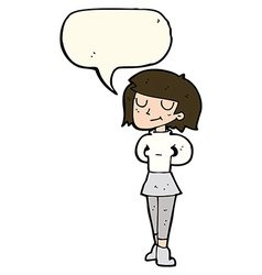 Cartoon pleased woman with speech bubble vector