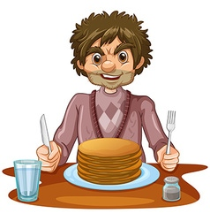 Man eating pancakes for breakfast vector
