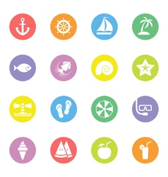 Colorful flat icon set 9 on circle vector