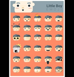 Little boy emoji icons vector