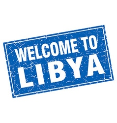 Libya blue square grunge welcome to stamp vector