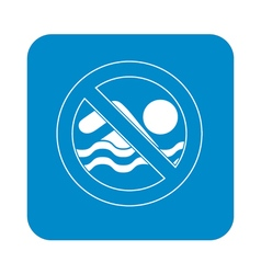 No swimming prohibition sign icon vector