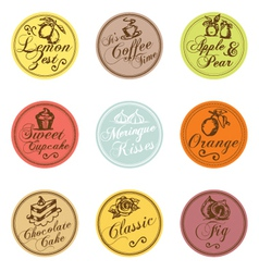 Bakery shop colorful tags collection vector image
