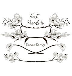 Black floral text dividers flower design vector