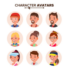 Character people avatar set face default vector