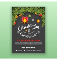 Christmas and Happy New Year Party Flyer Template vector image vector image