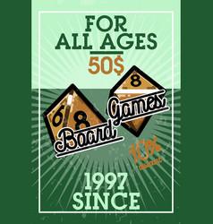 color vintage bord games banner vector image