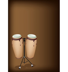 Congas with stand on dark brown background vector