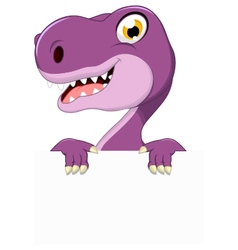 dinosaur cartoon with blank sign vector image