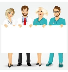 doctors and nurses holding a blank billboard vector image vector image