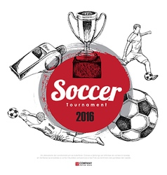 Drawing of soccer background poster brochure vector